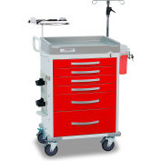 Detecto® Loaded Rescue Series Emergency Room Medical Cart, White Frame with 6 Red Drawers