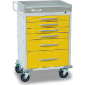 Detecto® Rescue Series Isolation Medical Cart, White Frame with 6 Yellow Drawers