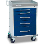 Detecto® Rescue Series Anesthesiology Medical Cart, White Frame with 5 Blue Drawers