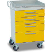 Detecto® Whisper Series Isolation Medical Cart, White Frame with 6 Yellow Drawers