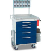 Detecto® Loaded Whisper Series Anesthesiology Medical Cart, White Frame with 5 Blue Drawers