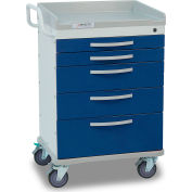 Detecto® Whisper Series Anesthesiology Medical Cart, White Frame with 5 Blue Drawers