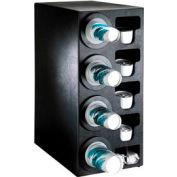 Dispense-Rite® Countertop 4 Cup Dispensing Cabinet w/Organizers - Black