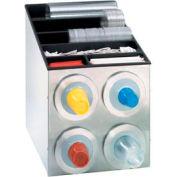 Dispense-Rite® BFL SS Countertop 4 Cup Dispensing Cabinet w/Organizers
