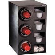 Dispense-Rite® Countertop 3 Cup Black Dispense Cabinet w/Organizers