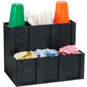 Cup, Lid, Straw & Condiment Organizer, 6 Sections, Black