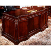 "Flexsteel Shaped Executive Desk 66""W x 34""D x 30""H Cherry Finish - Balmoor Series"