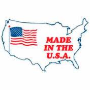 """Étiquettes en papier avec impression «Made In The USA», 3""""L x 2""""W, blanc / rouge / bleu, rouleau de 500"""