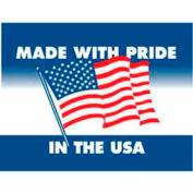 """Étiquettes en papier w / «Made w / Pride in USA» Print, 4""""L x 3""""W, Blanc / Rouge / Bleu, Rouleau de 500"""