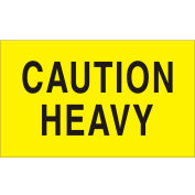 """Shipping Labels w/ """"Caution Heavy"""" Print, 5""""L x 3""""W, Bright Yellow, Roll of 500"""