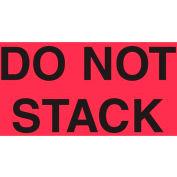 """Étiquettes en papier avec impression «Ne pas empiler», 5""""L x 3""""W, rouge fluorescent et noir, rouleau de 500"""