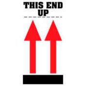"""Étiquettes de papier avec impression «This End Up», 8""""L x 4""""W, blanc / rouge / noir, rouleau de 500"""