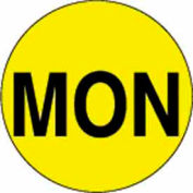 """2"""" Dia. Round Paper Labels w/ """"Mon"""" Print, Bright Yellow & Black, Roll of 500"""