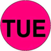 """2"""" Dia. Round Paper Labels w/ """"Tue"""" Print, Fluorescent Pink & Black, Roll of 500"""