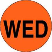 "2"" Dia. Round Paper Labels w/ ""Wed"" Print, Fluorescent Orange & Black, Roll of 500"