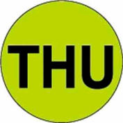 """2"""" Dia. Round Paper Labels w/ """"Thu"""" Print, Fluorescent Green & Black, Roll of 500"""