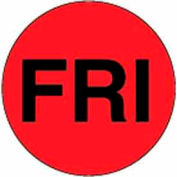 """2"""" Dia. Round Paper Labels w/ """"Fri"""" Print, Fluorescent Red & Black, Roll of 500"""