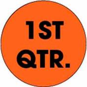 "3"" Dia. Round Paper Labels w/ ""1st Quarter"" Print, Fluorescent Orange & Black, Roll of 500"