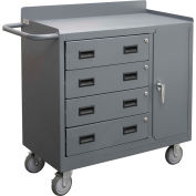 "Durham Mfg. Armoire de banc mobile, 4 tiroirs, 41-7/8""W x 18-1/8""D, Gray"