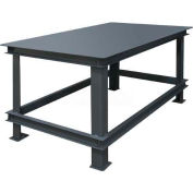 "Durham Mfg. Stationary Machine Table W/ Shelf, Steel Square Edge, 72""W x 36""D, Gray"