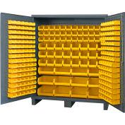 "Durham Jumbo Bin Cabinet SSC-722484-BDLP-264-95 - With 264 Hook-On Bins, 72""W x 24""D x 84""H"