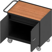"Durham Mobile Bench Cabinet - Shop Top, 2 Locking Doors & Drawer - 42-1/8""W x 25-13/16""D x 36-3/8""H"