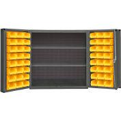 "Durham Storage Bin Cabinet DC-243636-48-2S-95 - 48 Yellow Hook-On Bins - 36""W x 24""D x 36""H"