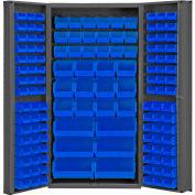 Global Industrial™ Bin Cabinet Deep Door - 132 Blue Bins, 16 Ga All-Welded Cabinet 36 x 24 x 72