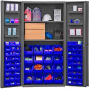 Global Industrial™ Bin Cabinet Deep Door - 64 Blue Bins, 16 Ga. All-Welded Cabinet 36 x 24 x 72
