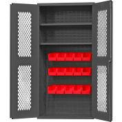 "Durham Expanded Metal Door Bin Cabinet EMDC36182S15B1795 - 15 Red Bins 36""W x 18""D x 72""H"