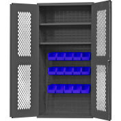 "Durham Expanded Metal Door Bin Cabinet EMDC36182S15B5295 - 15 Blue Bins 36""W x 18""D x 72""H"