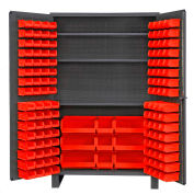 Global Industrial™ Bin Cabinet Flush Door - 137 Red Bins, 16 Ga All-Welded Cabinet 48 x 24 x 78