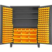 Global Industrial™ Bin Cabinet Flush Door - 185 Yellow Bins, 16 Ga. All-Welded Cabinet 60x24x84