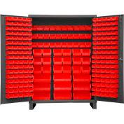 Global Industrial™ Bin Cabinet Flush Door - 227 Red Bins, 16 Ga All-Welded Cabinet 60 x 24 x 84