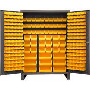 Global Industrial™ Bin Cabinet Flush Door - 227 Yellow Bins, 16 Ga. All-Welded Cabinet 60x24x84