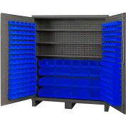 Global Industrial™ Bin Cabinet Flush Door - 212 Blue Bins, 16 Ga. All-Welded Cabinet 72x24x84