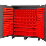 Global Industrial™ Bin Cabinet Flush Door - 264 Red Bins, 16 Ga All-Welded Cabinet 72 x 24 x 84