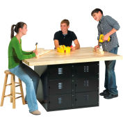 4-Station Workbench Blk W/0 Vises