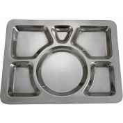 "Winco SMT-1 6 Compartment Mess Tray, 15-1/2""L, 11-1/2""W, Stainless Steel, Rectangular, Style A - Pkg Qty 24"