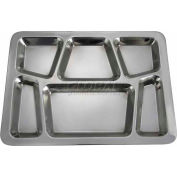 "Winco SMT-2 - 6 Compartment Mess Tray, 15-1/2""L, 11-1/2""W, Stainless Steel, Rectangular, Style B - Pkg Qty 24"