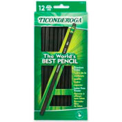 Dixon® Ticonderoga Woodcase HB #2 Pencil With Eraser, Black Barrel, Dozen