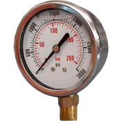 "Dynamic 2 1/2 "" Fluid Glycerine Filled Pressure Gauge Stem 1000 PSI"
