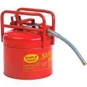 """Eagle D.O.T. Approved Transport Can with 7/8""""Flexible Hose Type II Red 5 Gal., 1215"""