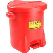Eagle 14 Gallon Poly Waste Can W/ Foot Lever, Red - 937FL