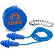 Elvex® Quattro™ Reusable Earplugs w/Chain & Case, EP-412, NRR 27, Corded, 50 Pairs/Box