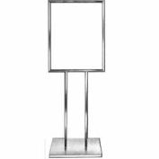 "22"" x 28"" Bulletin Sign Holder w/ Extra-Heavy Raised Base - Chrome"
