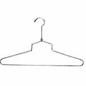 """16"""" L acier Blouse et robe Hanger W / crochet régulier - Chrome, qté par paquet : 100"""