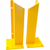 "Overhead Door Track Guard, 10"" x 10"" Base, 36""H, Yellow Powder Coat, Set of 2"