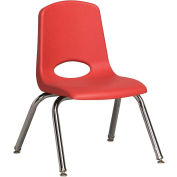"""ECR4Kids Classroom Stack Chair with Feet Glides - 12"""" - Red - Pkg Qty 6"""