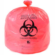 "High Density Red Infectious Waste Liner, 13 Microns, 24"" x 30"", Pkg Qty 500"